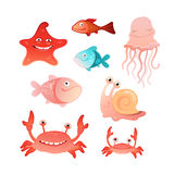 Collection of marine inhabitants Royalty Free Stock Images