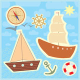 Collection of marine stickers for kids.  Royalty Free Stock Photo