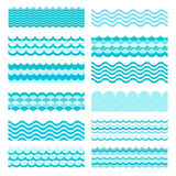 Collection of marine waves. Sea wavy, ocean art water design Stock Photos