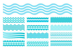 Collection of marine waves. Sea wavy, ocean art water design. stock illustration