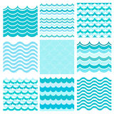 Collection of marine waves. Sea wavy, ocean art water design. Royalty Free Stock Photos