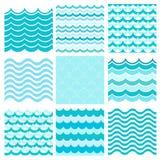 Collection of marine waves. Sea wavy, ocean art water design. Vector illustration stock illustration