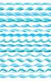 Collection of marine waves, stylized design Stock Photos