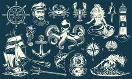 Collection maritime et nautique de cru d'éléments illustration stock