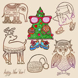 Collection of marker drawing christmas Stock Image