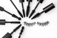 Collection of a mascara brushes on white background. each one is shot separately Stock Images