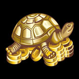 Collection of mascots: bronze turtle on coins. Vector objects talismans Feng Shui on a black background Stock Illustration