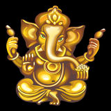 Collection of mascots: golden Ganesha. Vector objects talismans Feng Shui on a black background Stock Illustration
