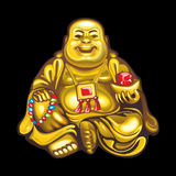 Collection of mascots: Hotei. Vector objects talismans Feng Shui on a black background Royalty Free Illustration