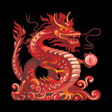 Collection of mascots: red dragon. Vector objects talismans Feng Shui on a black background Stock Illustration