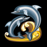 Collection of mascots: statuette dolphins. Vector objects talismans Feng Shui on a black background Stock Illustration