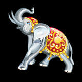 Collection of mascots: statuette of an elephant. Vector objects talismans Feng Shui on a black background Stock Illustration
