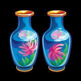 Collection of mascots: two Chinese vases. Vector objects talismans Feng Shui on a black background Stock Illustration