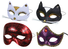 Collection of masks ready for party. On white Stock Photography