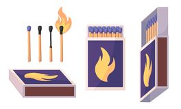 Collection of matches. Burning match with fire, opened matchbox, burnt matchstick. Flat design style. Vector. Illustration isolated royalty free illustration