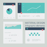 Collection of material design infographics. Elements. Pie chart, line graph, timeline diagrams. Simple line icons for statistics, presentation or reports. Eps10 Royalty Free Stock Photo