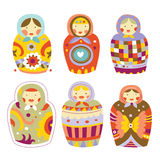 Collection of Matryoshka Dolls. Collection of colorful Russian dolls (Matryoshka) with different patterns and colors Stock Photo