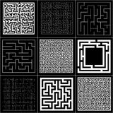 Collection of maze with solution. Vector Labyrinth set. Stock Images