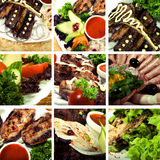 Collection of meat dishes. Collage of dishes with meat and vegetables royalty free stock image