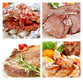 Collection of meat dishes. From beef, pork, lamb and chicken Stock Image