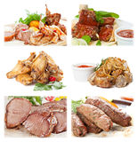 Collection of meat food on a white background. For  restaurant menu Stock Image