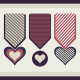 Collection of medals in the form of hearts. Stock Photos