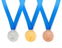 Collection of medals with path. Collection of sports medals on white background with path royalty free illustration