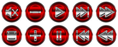 Collection of media controls and buttons Royalty Free Stock Photos