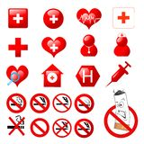 Collection of medical icons. Collection of medical themed icons and warning-signs vector Stock Images