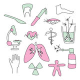 Collection of medical signs Stock Image