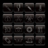 Collection of  medical themed icons. And warning-signs - Vector Icon Set Royalty Free Stock Images