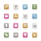 Collection of  medical themed icons. And warning-signs -  icon set Royalty Free Stock Photos