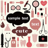 Collection of medical themed icons. And warning-signs Royalty Free Stock Photo
