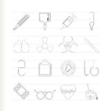 Collection of  medical themed icons. And warning-signs  icon set Stock Images