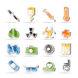 Collection of  medical themed icons. And warning-signs - Vector Icon Set Royalty Free Stock Photos