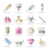 Collection of medical themed icons. And warning-signs  icon set Stock Image
