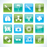Collection of medical themed icons. And warning-signs - Vector Icon Set Royalty Free Stock Photography