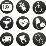 Collection of medical themed icons , black white Stock Image
