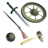 Collection of medieval and primitive weapons Stock Images