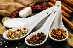 Collection of Mediterranean Spices. On dark rustic background Stock Photo