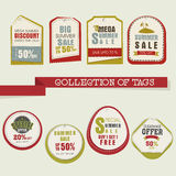 Collection of Mega Summer Sale tags or labels. Collection of stylish tags or labels for Mega Summer Sale with flat discount offer Royalty Free Stock Images