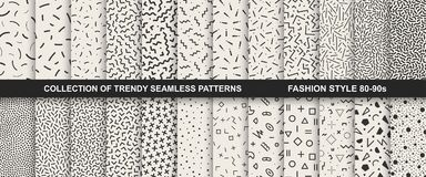 Collection of memphis seamless patterns. Fashion 80-90s. You can find seamless backgrounds in swatches panel stock image
