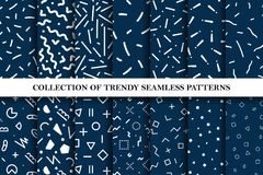 Collection of memphis seamless vector patterns. Fashion design 80-90s. You can find repeatable backgrounds in swatches panel royalty free illustration