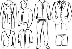 Collection of men's clothes Stock Images