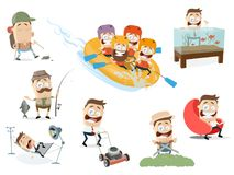 Collection of men in different recreation situations. Funny collection of men in different recreation situations vector illustration