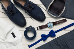 Collection of men`s fashion clothes and accessories. Top view Royalty Free Stock Images