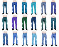 Collection of men's jeans in different colors isolated on white Royalty Free Stock Photography