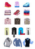 Collection of men's shirts and sweaters Royalty Free Stock Images