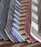Neckties in stripes, colors and patterns royalty free stock photo