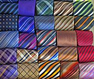 Ties collection. Collection of men`s ties in wardrobe Royalty Free Stock Photo